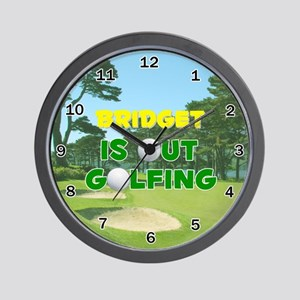 Bridget is Out Golfing - Wall Clock