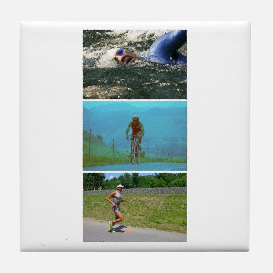 SOLO TRIATHLON TRIPTYCH PAINTING Tile Coaster