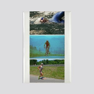 SOLO TRIATHLON TRIPTYCH PAINTING Rectangle Magnet
