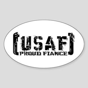 Proud USAF Fiance - Tatterd Style Oval Sticker