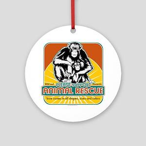 Animal Rescue Chimpanzee Ornament (Round)