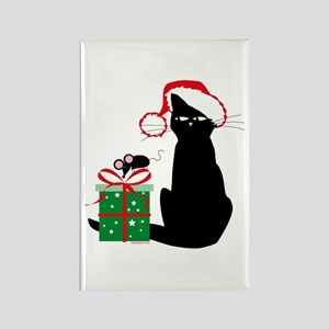 Santa Cat & Mouse Rectangle Magnet