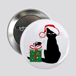 "Santa Cat & Mouse 2.25"" Button"