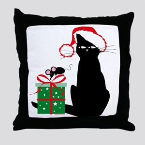 Santa Cat & Mouse Throw Pillow