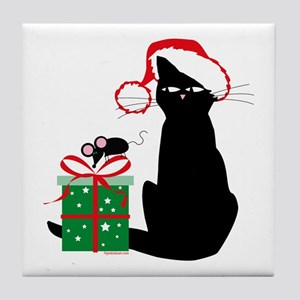 Santa Cat & Mouse Tile Coaster