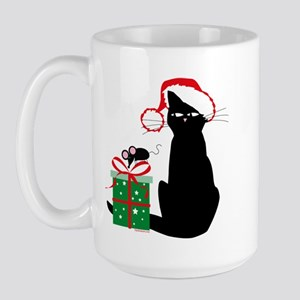 Santa Cat & Mouse Large Mug