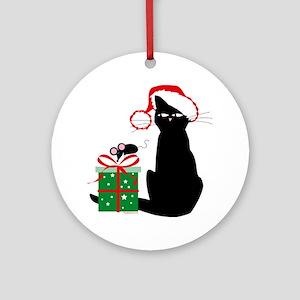 Santa Cat & Mouse Christmas Ornament (Round)