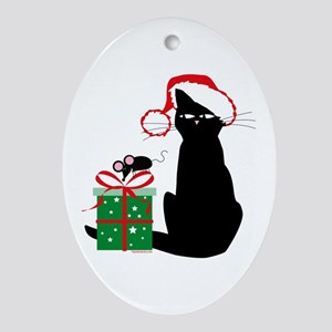 Santa Cat & Mouse Keepsake (Oval)