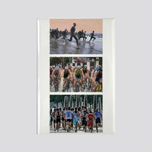 GROUP TRIATHLON TRIPTYCH PAINTING Rectangle Magnet