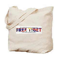 Free Tibet: Tote Bag-Tibetan flag on reverse side