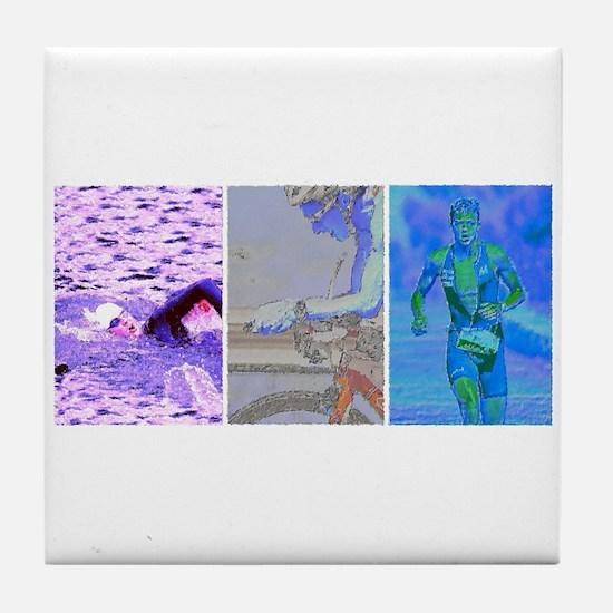 SOLO TRIATHLON TRIPTYCH PAINTING 2 Tile Coaster