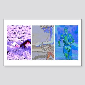 SOLO TRIATHLON TRIPTYCH PAINTING 2 Sticker (Rectan
