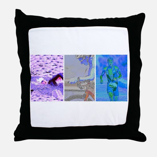 SOLO TRIATHLON TRIPTYCH PAINTING 2 Throw Pillow