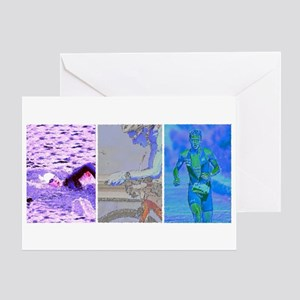 SOLO TRIATHLON TRIPTYCH PAINTING 2 Greeting Card