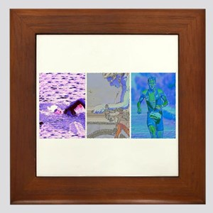 SOLO TRIATHLON TRIPTYCH PAINTING 2 Framed Tile