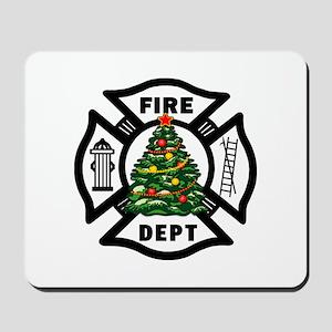 Firefighter Christmas Tree Mousepad