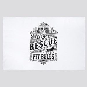 Real Girls Rescue Pit Bulls 4' x 6' Rug