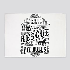 Real Girls Rescue Pit Bulls 5'x7'Area Rug