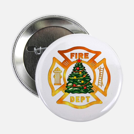 "Firefighter Christmas Tree 2.25"" Button"