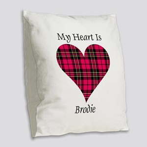 Heart - Brodie Burlap Throw Pillow