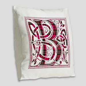Monogram - Brodie Burlap Throw Pillow