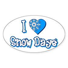 I Love [Heart] Snow Days Oval Sticker