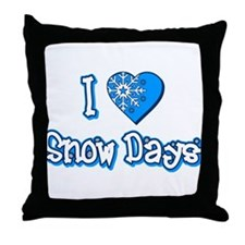 I Love [Heart] Snow Days Throw Pillow