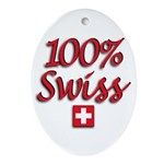 100% Swiss Oval Ornament