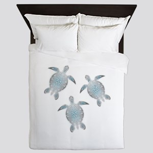 Silver Sea Turtles Queen Duvet