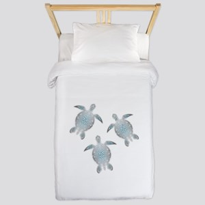 Silver Sea Turtles Twin Duvet Cover