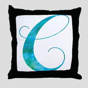 Turquoise Script Letter C Monogram Throw Pillow