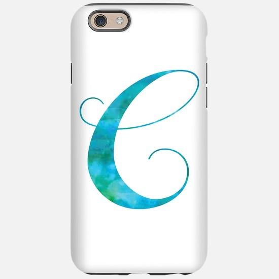 Turquoise Script Letter C M iPhone 6/6s Tough Case