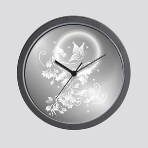 Silver Floral Butterfly Fantasy Wall Clock