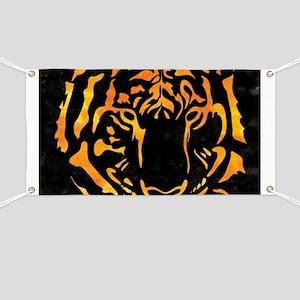 Orange Tiger Silhouette on Black Background Banner