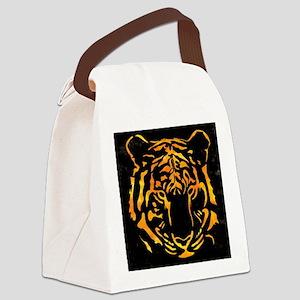 Orange Tiger Silhouette on Black Canvas Lunch Bag