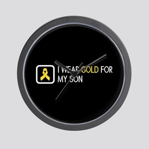 Childhood Cancer: Gold For My Son Wall Clock