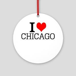 I Love Chicago Round Ornament