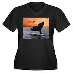 WHALE DREAMS Women's Plus Size V-Neck Dark T-Shirt
