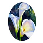 calla lilly art deco flower print Oval Ornament