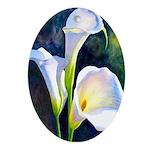 calla lilly art deco flower print Oval Ornament