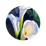 "calla lilly art deco flower print 3.5"" Button (100"