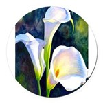 calla lilly art deco flower print Round Car Magnet