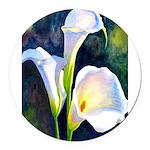 calla lilly art deco flower print Round Car Magnet