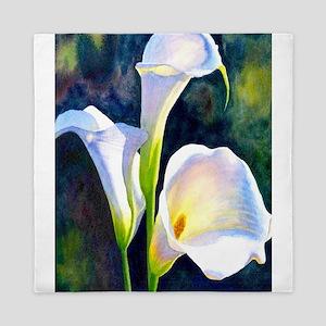 calla lilly art deco flower print Queen Duvet