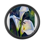 calla lilly art deco flower print Large Wall Clock