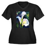 calla lilly art deco flower print Plus Size T-Shir