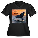 ONLY BAJA Women's Plus Size V-Neck Dark T-Shirt