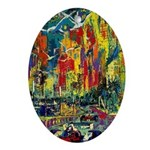Grand Prix Auto Race Painting Print Oval Ornament