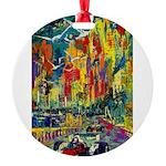 Grand Prix Auto Race Painting Print Round Ornament