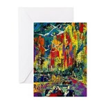Grand Prix Auto Race Painting Print Greeting Cards